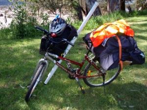 Bike loaded up to go fishing
